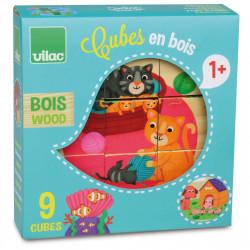 9 cubes bois animaux - Vilac