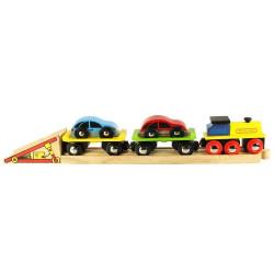 Locomotive chargeur de voitures - circuit train bois