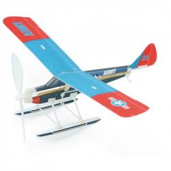 Avion à elastique bleu