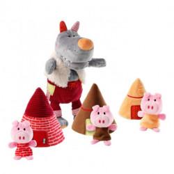 Marionnette loup & 3 petits cochons