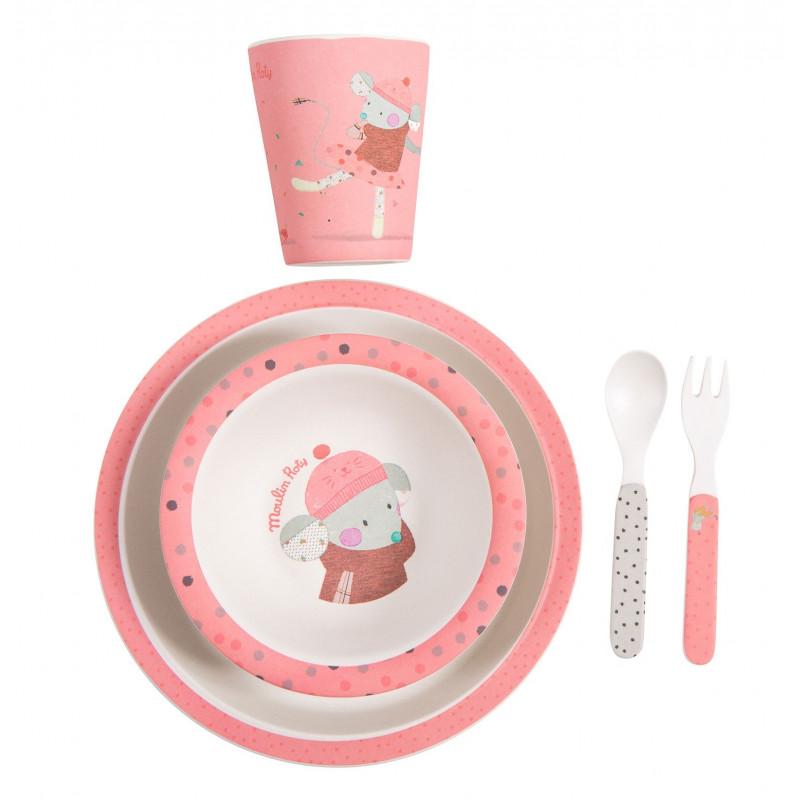 Set vaisselle rose Les Jolis pas beaux