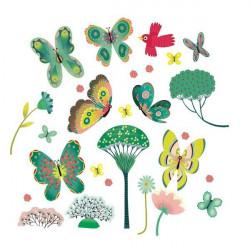 Stickers de fenêtre - Papillons au jardin