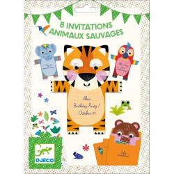 Cartes invitation - Animaux sauvages - 8 cartes