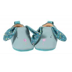 Chaussons cuir - Lapin bleu  -Jolis trop beaux