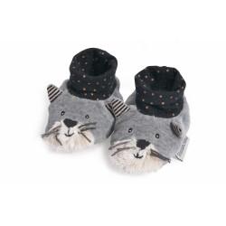 Chaussons chat gris clair Fernand - Les Moustaches