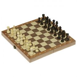 Jeu d échecs dans une boîte en bois pliable