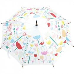 Parapluie bois Fleurs rose...