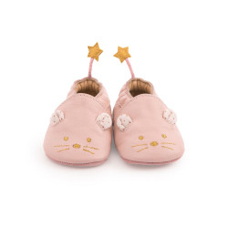 Chaussons cuir Souris Rose...