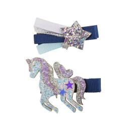 Barrettes - Navy Unicorn Star