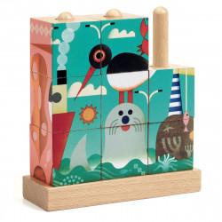 9 cubes puzzle en bois -...